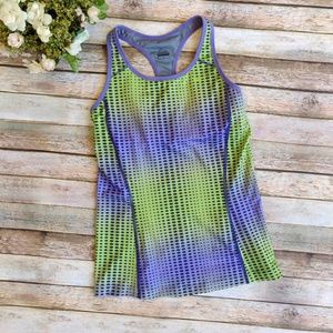 Nike Purple and Green Dotted Tank Top Built in Bra
